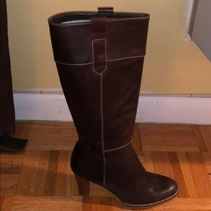 Zara Leather Pull-On Boots with Stacked Heel.
